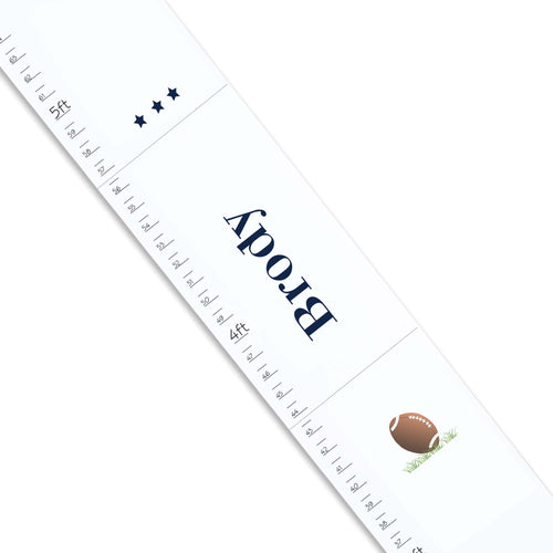 Personalized White Growth Chart With Football Design
