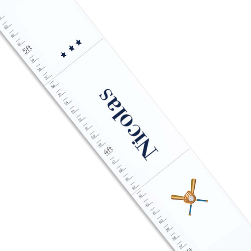 Personalized White Growth Chart With Baseball Design