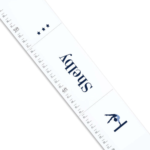 Personalized White Growth Chart With Gymnastics Design