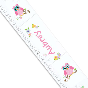Personalized White Growth Chart With Calico Owl Design