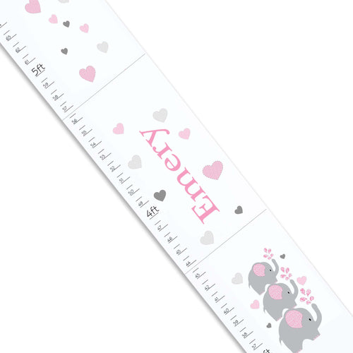 Personalized White Growth Chart With Elephant Pink Design