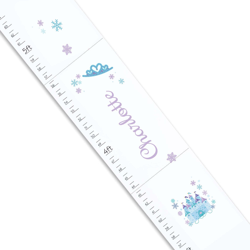 Personalized White Growth Chart With Winter Castle Design