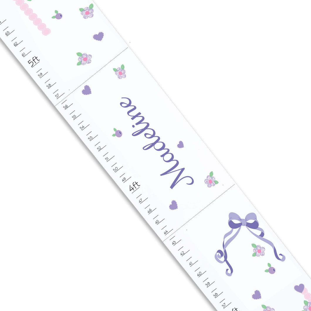 Personalized White Childrens Growth Chart with Lacey Bow design