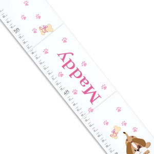 Personalized White Growth Chart With Puppy Pink Design