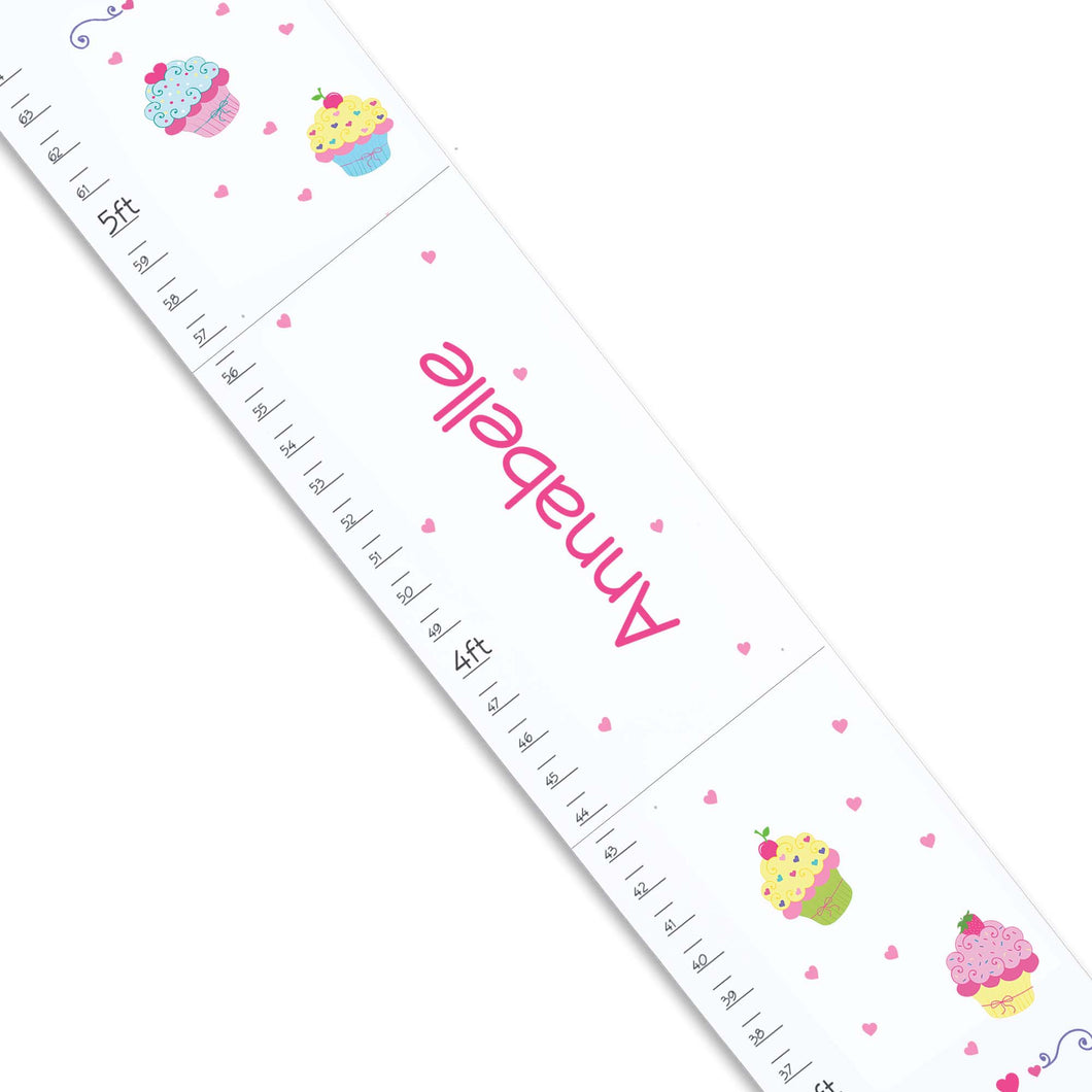 Personalized White Childrens Growth Chart with Cupcake design