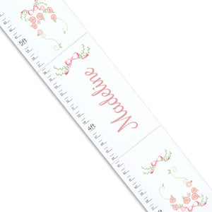 Personalized White Growth Chart With Garland Pink Mint Blush Design