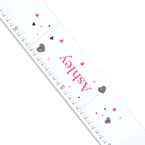 Personalized White Growth Chart With Groovy Zebra Hearts Design