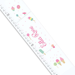 Personalized White Growth Chart With Sweet Treats Design