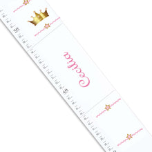 Personalized White Childrens Growth Chart with Pink Princess Crown design