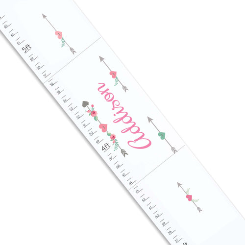 Personalized White Growth Chart With Tribal Arrow Girls Design