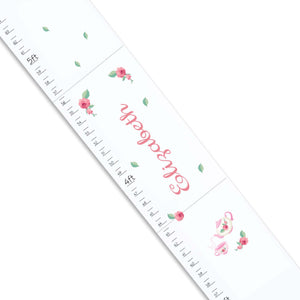 Personalized White Growth Chart With Tea Party Design