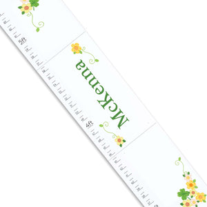 Personalized White Childrens Growth Chart with Shamrock design