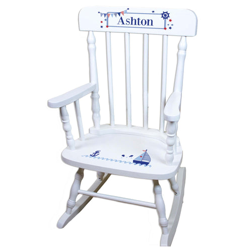 White Sailboat Personalized Wooden ,rocking chairs