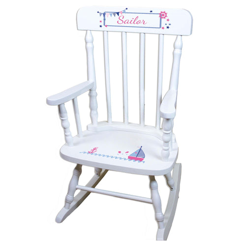 Girl's Sailboat White Personalized Wooden ,rocking chairs