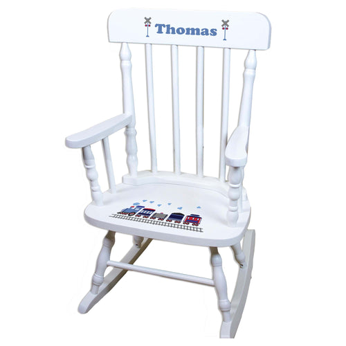 Train White Personalized Wooden ,rocking chairs