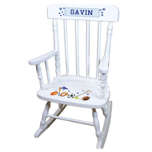 Sports White Personalized Wooden ,rocking chairs