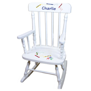 Crayon White Personalized Wooden ,rocking chairs