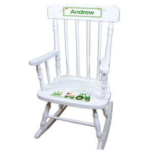 Green Tractor White Personalized Wooden ,rocking chairs