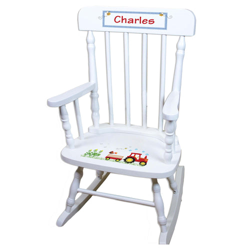 Red Tractor White Personalized Wooden ,rocking chairs