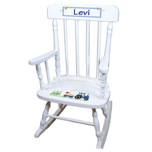 Blue Tractor White Personalized Wooden ,rocking chairs