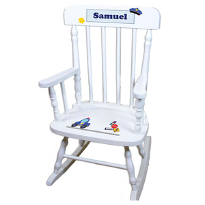 Police White Personalized Wooden ,rocking chairs