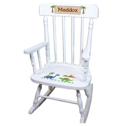 Dinosaur White Personalized Wooden ,rocking chairs