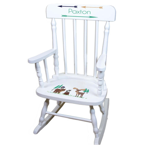 North Woodland White Personalized Wooden ,rocking chairs