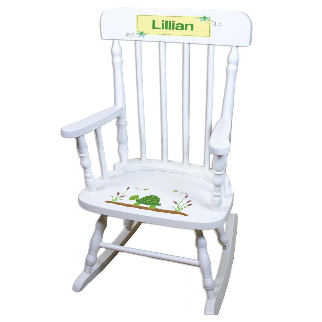 Turtle White Personalized Wooden ,rocking chairs