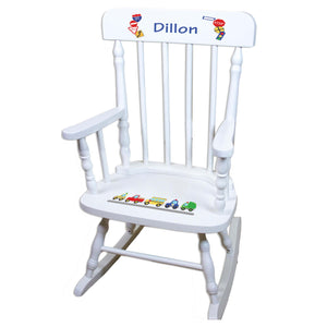 White Cars And Trucks Personalized Wooden ,rocking chairs