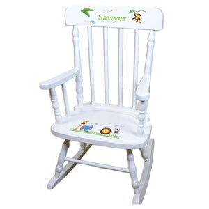 White Jungle Animal Personalized Wooden ,rocking chairs