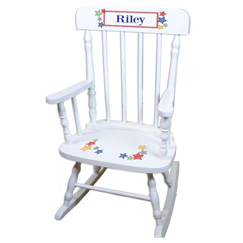 Stitched Stars White Personalized Wooden ,rocking chairs
