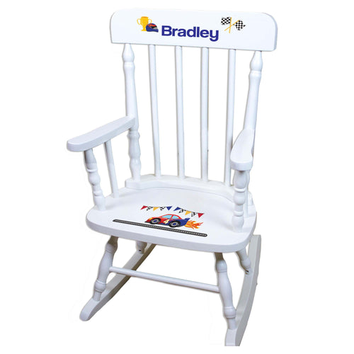 Race Car White Personalized Wooden ,rocking chairs