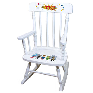 Boys Superhero White Personalized Wooden ,rocking chairs