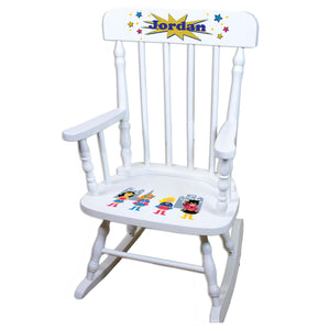 Girls Superhero White Personalized Wooden ,rocking chairs