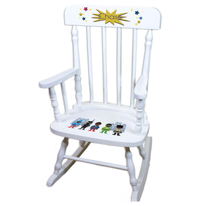 African American Superhero White Personalized Wooden ,rocking chairs