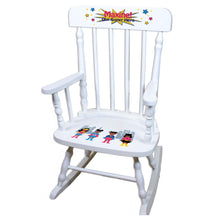 Girl's African American Superhero White Spindle rocking chairs