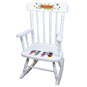 Girl's African American Superhero White Personalized Wooden ,rocking chairs