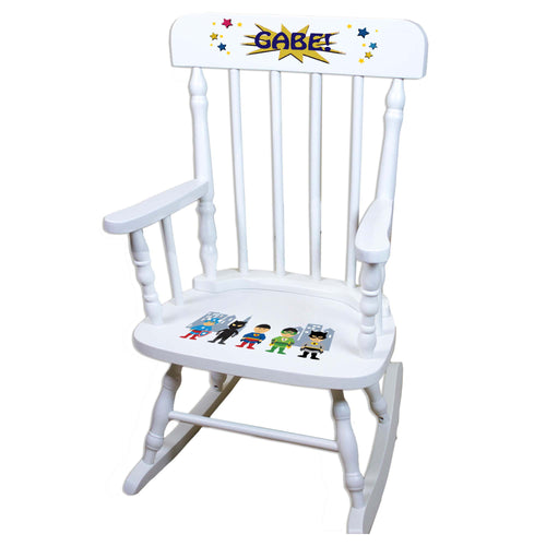 Asian SuperheroWhite Personalized Wooden ,rocking chairs
