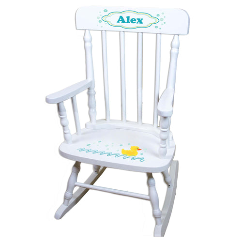 Rubber Ducky White Personalized Wooden ,rocking chairs