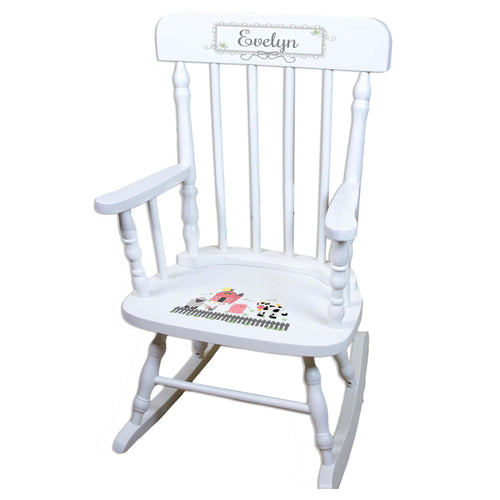 Pastel Barnyard White Personalized Wooden ,rocking chairs