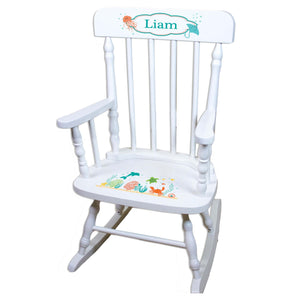 Sea Life White Personalized Wooden ,rocking chairs