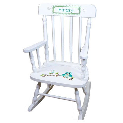 Blue Owl White Personalized Wooden ,rocking chairs