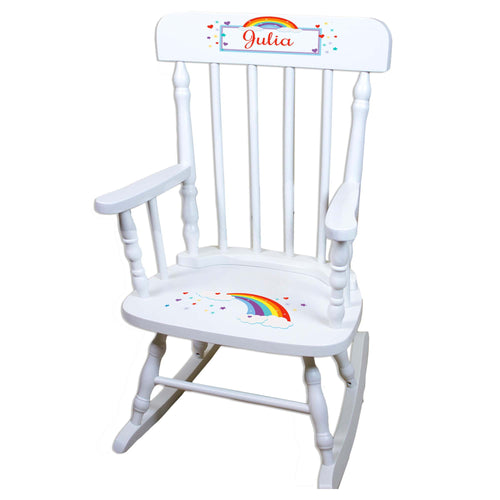 Rainbow White Personalized Wooden ,rocking chairs