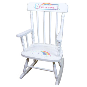 Pastel Rainbow White Personalized Wooden ,rocking chairs