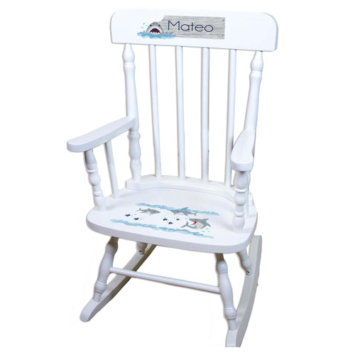 Shark White Personalized Wooden ,rocking chairs