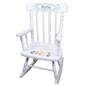 Blue Cats White Personalized Wooden ,rocking chairs