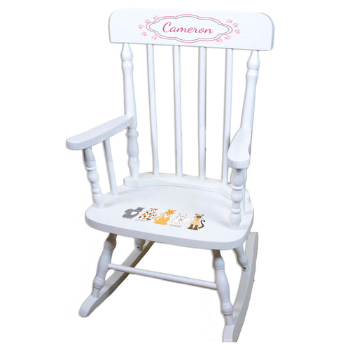 Pink Cats White Personalized Wooden ,rocking chairs