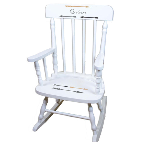 Gold Gray Arrows White Personalized Wooden ,rocking chairs