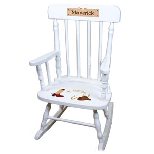 Wild West White Personalized Wooden ,rocking chairs