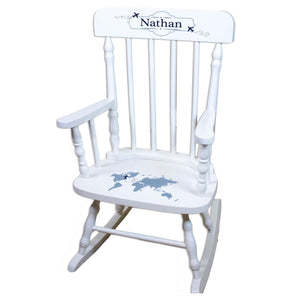 Blue World Map White Personalized Wooden ,rocking chairs